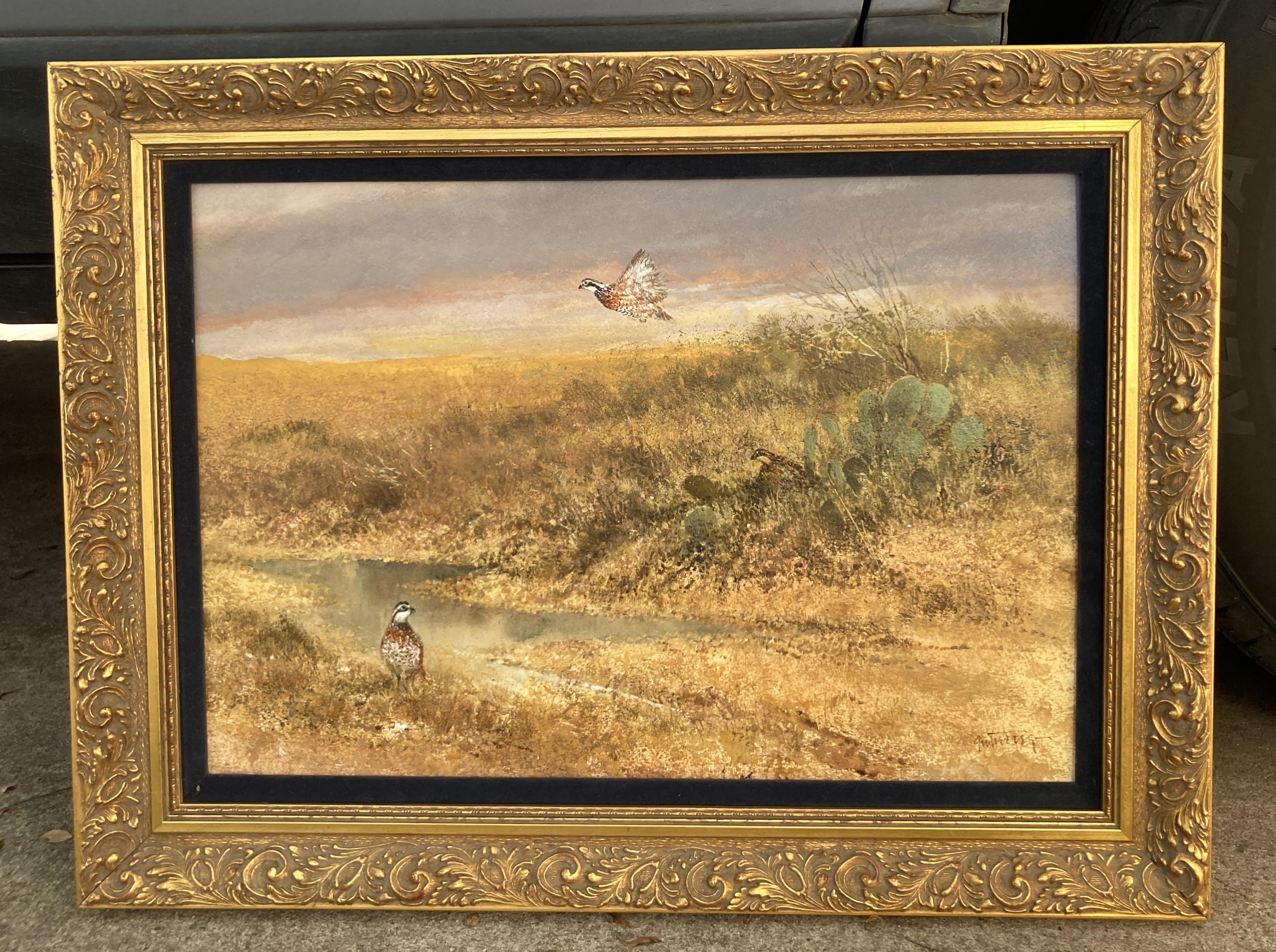 Bobwhites Watercolor in frame